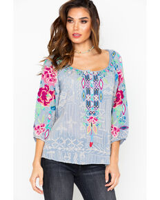 Johnny Was Women's Trista Blouse, Slate, hi-res