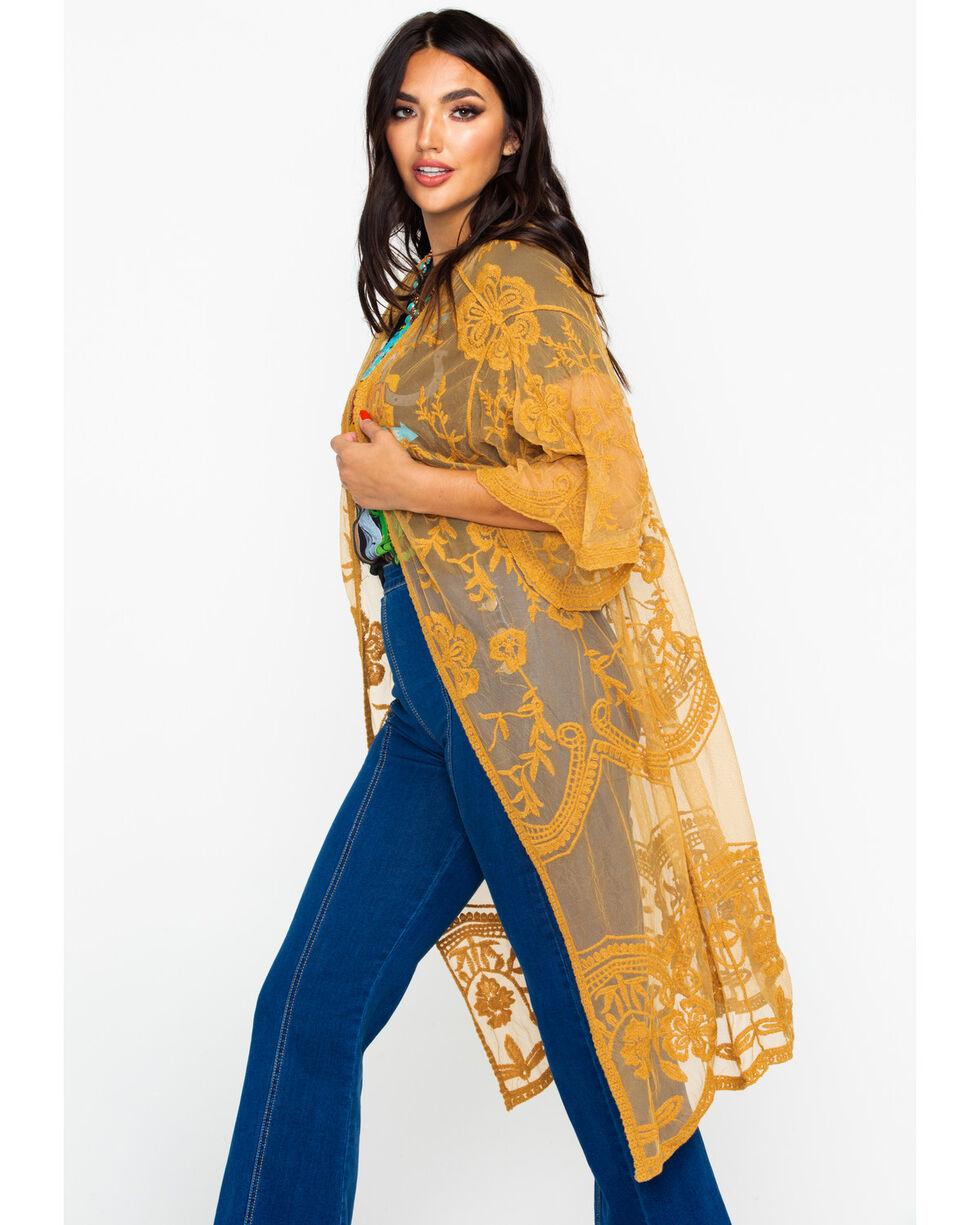 Polagram Women's Mustard Lace Long Kimono , Dark Yellow, hi-res