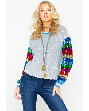 Dance & Marvel Women's Lurex Multi Color Sequin Long Sleeve Top , Silver, hi-res