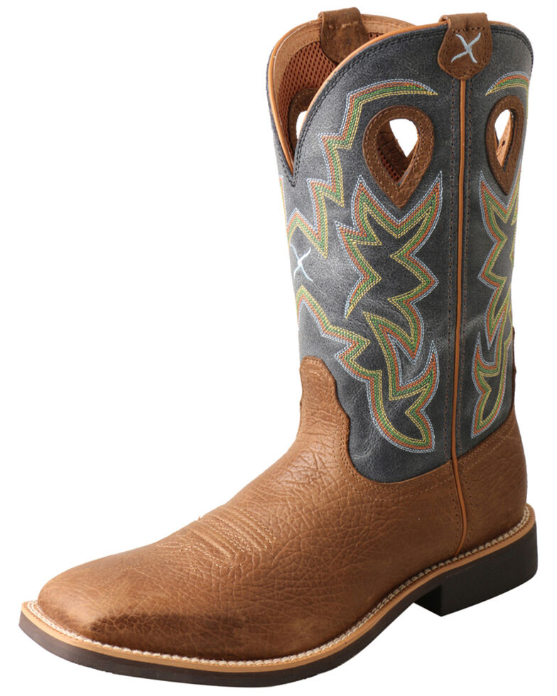 Twisted X Men's Top Hand Western Boots - Wide Square Toe, Distressed Brown, hi-res
