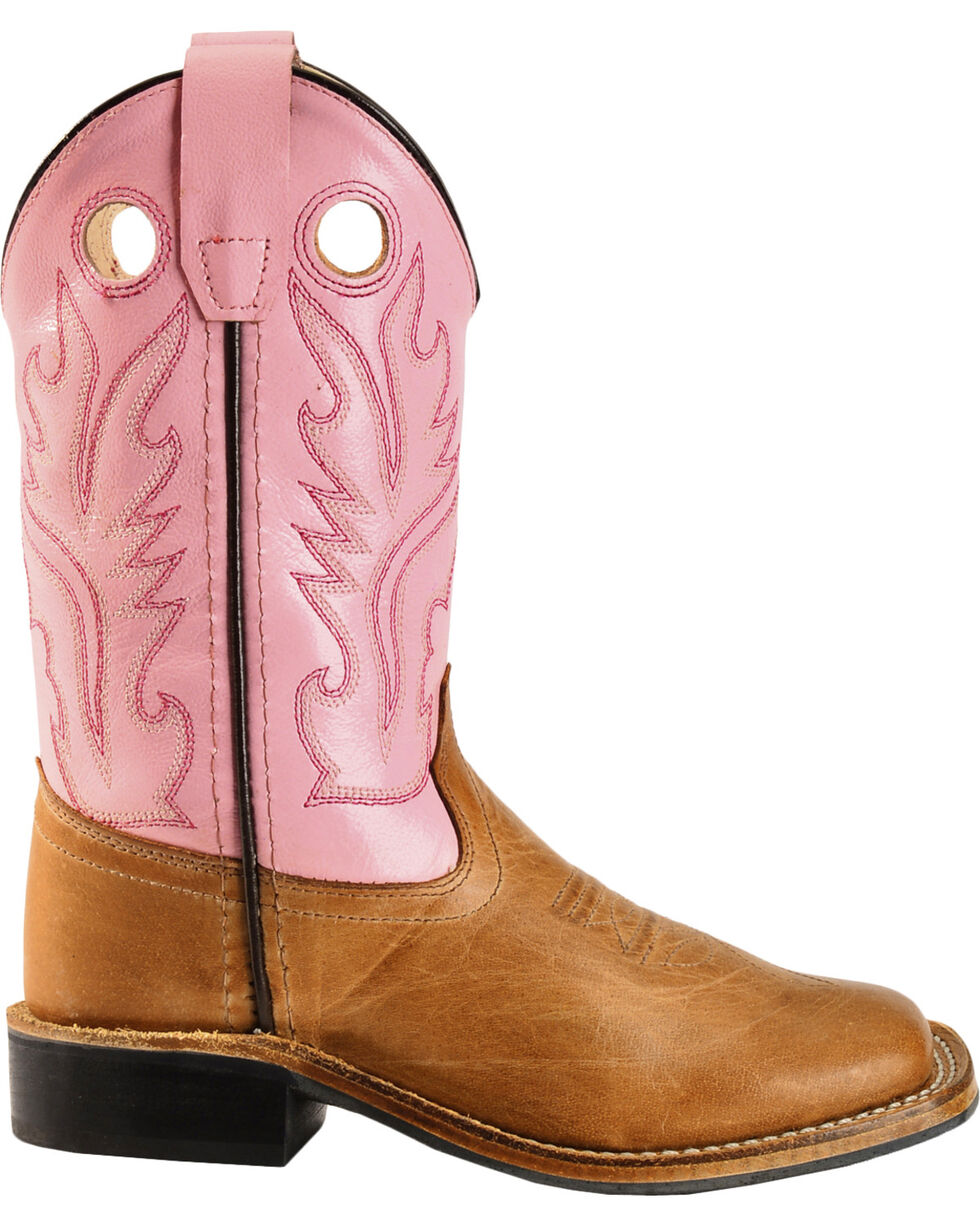 Old West Girls' Pink Cowgirl Boots - Square Toe, Tan, hi-res