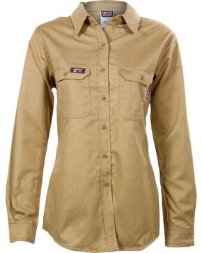 Lapco Women's FR Advanced Comfort Long Sleeve Work Shirt, Beige/khaki, hi-res