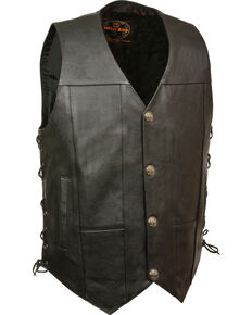 Milwaukee Leather Men's Black Side Lace Vest - Big 3X , Black, hi-res
