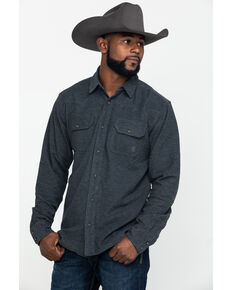 Ariat Men's Kasper Retro Solid Long Sleeve Western Flannel Shirt , Charcoal, hi-res