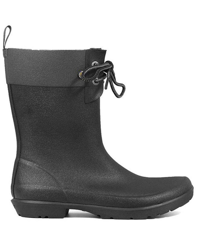 Bogs Women's Black Flora 2 Eye Rubber Boots - Round Toe, Black, hi-res