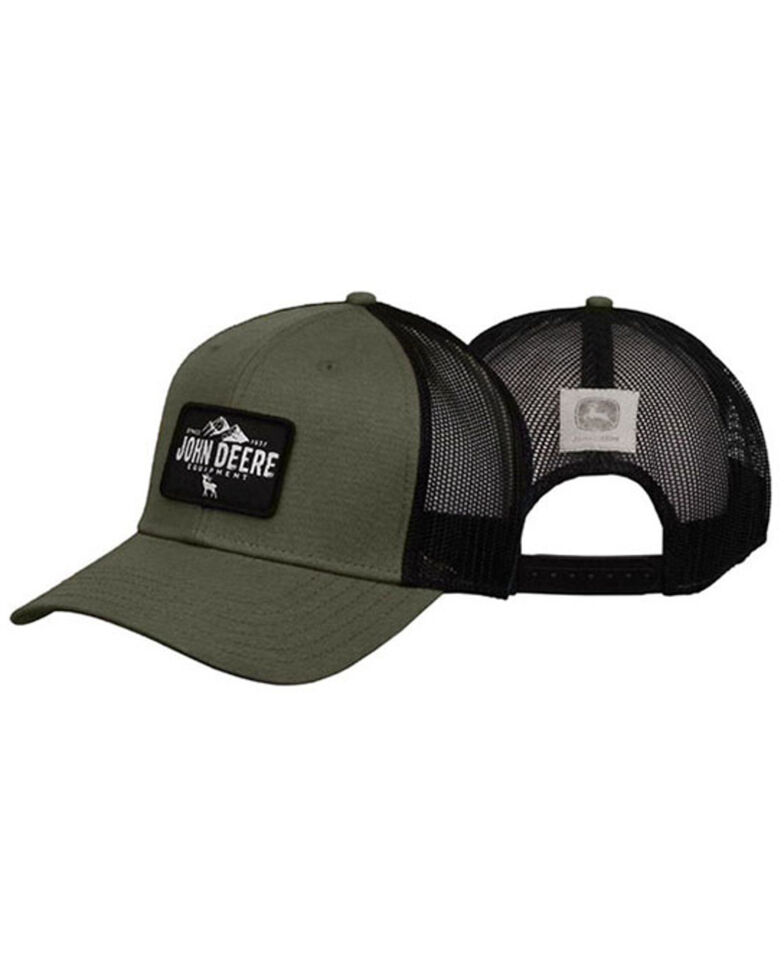 John Deere Men's Olive Rectangle Logo Patch Mesh-Back Ball Cap , Olive, hi-res