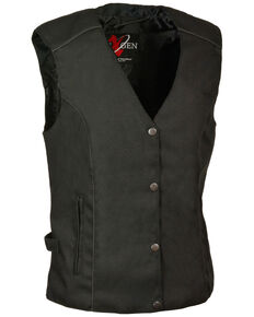 Milwaukee Leather Women's Stud & Wing Embroidered Vest - 3X, Black, hi-res