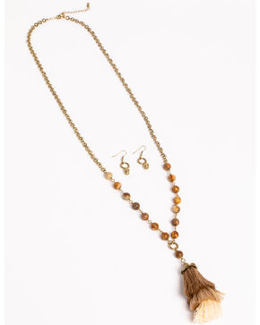 Shyanne Women's Adilene Beaded & Tiered Tassel Jewelry Set, Gold, hi-res