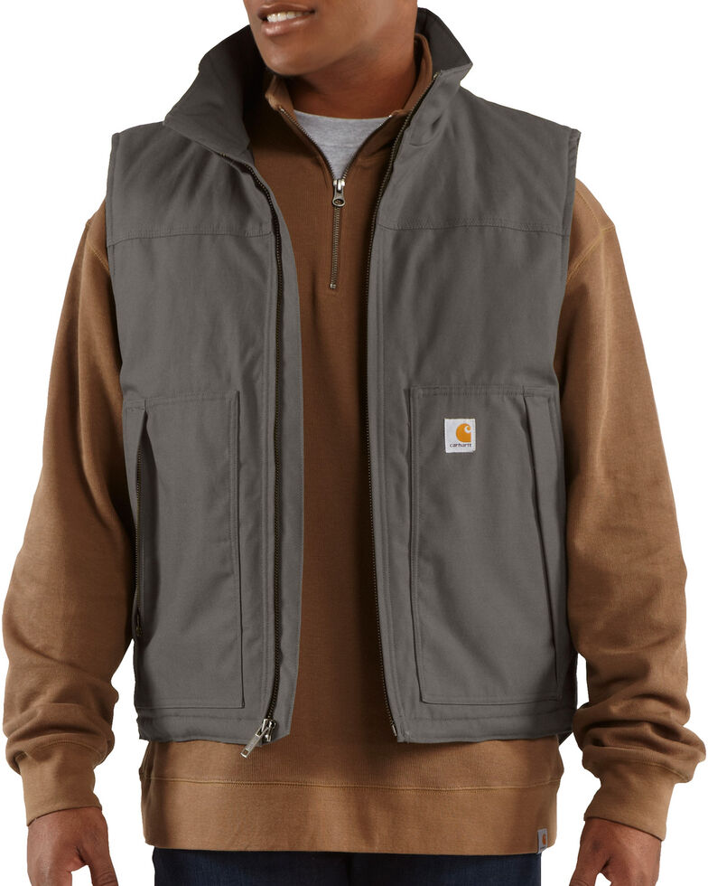 Carhartt Men's Quick Duck Jefferson Work Vest, Charcoal Grey, hi-res
