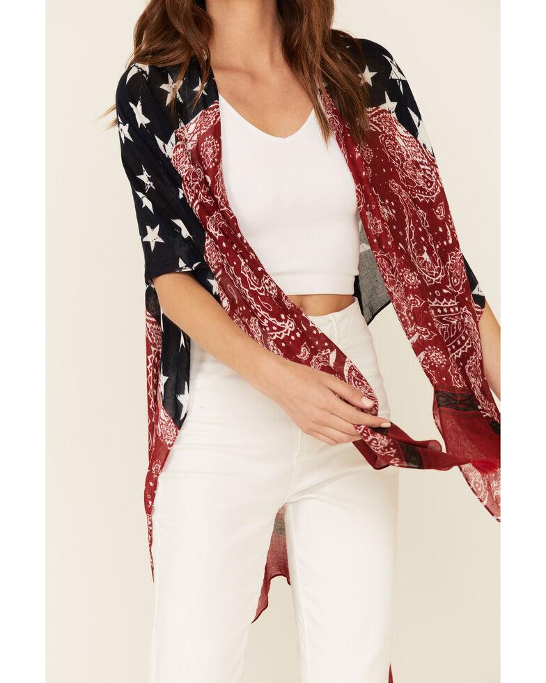 Shyanne Women's Stars & Stripes Tassel Trim Shawl, Navy, hi-res
