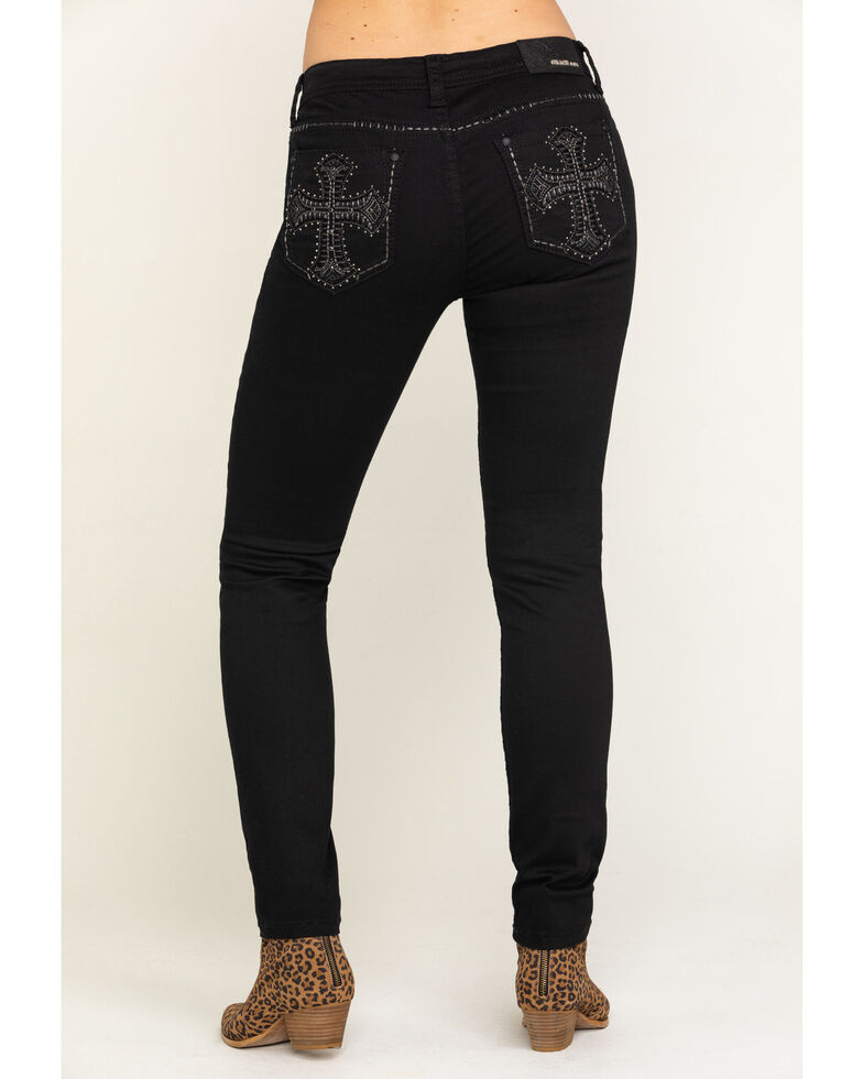 Grace in LA Women's Black Embroidered Cross Skinny Jeans , Black, hi-res