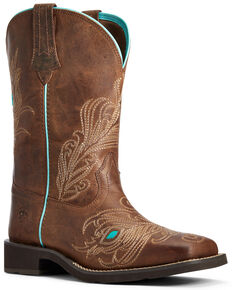 Ariat Women's Bright Eyes II Western Boots - Wide Square Toe, Brown, hi-res