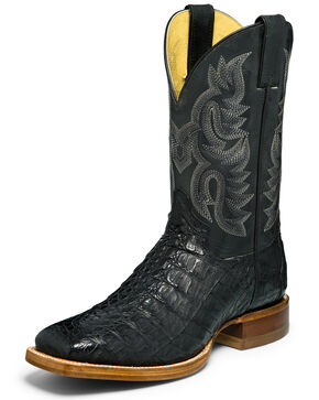 Justin Men's Exotic Caiman Western Boots - Wide Square Toe, Black, hi-res