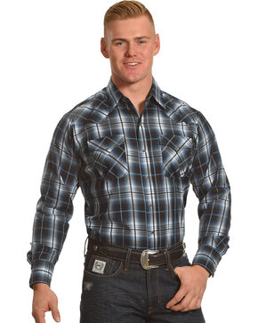Ely Cattlemen Men's Blue Textured Plaid Long Sleeve Snap Shirt, Blue, hi-res