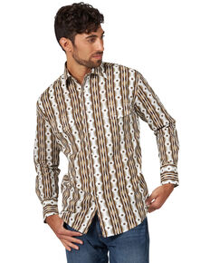 Wrangler Men's Tan Checotah Aztec Striped Long Sleeve Western Shirt , Tan, hi-res
