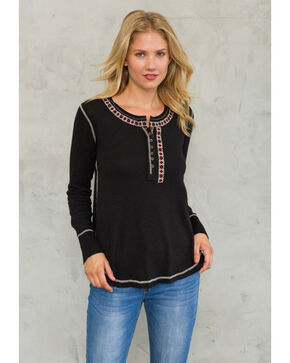 Mystree Women's Embroidered Button Henley Top , Black/white, hi-res
