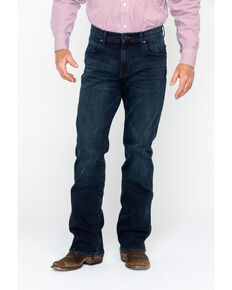 Wrangler Retro Men's Blue Relaxed Fit Stretch Bootcut Jeans , Blue, hi-res