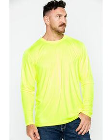 Hawx® Men's Long Sleeve Color-Enhanced Cooling Work Tee , Yellow, hi-res