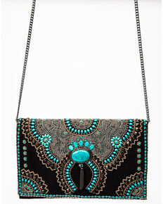 Mary Frances Women's Squash Blossom Crossbody Handbag, Black, hi-res