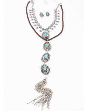 Shyanne Women's Isla Jane 4 Tiered Concho Layered Necklace Set, Silver, hi-res