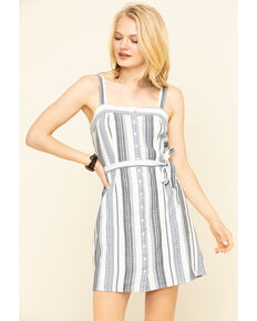 Others Follow Women's Stripe Button Front Clark Dress, Blue, hi-res