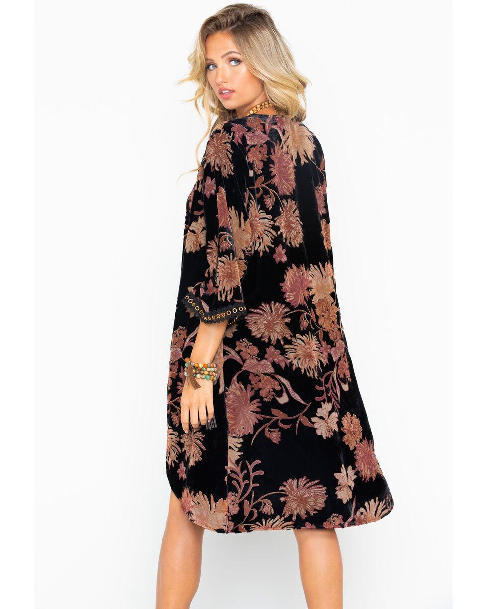Miss Me Women's Floral Duster , Black, hi-res