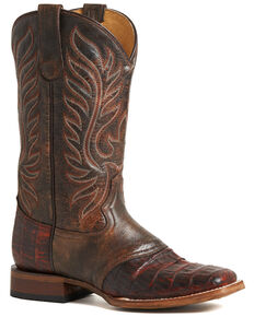 Roper Women's Cognac Sami Saddle Vamp Caiman Belly Boots - Square Toe, Brown, hi-res