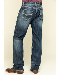 Rock & Roll Cowboy Men's Double Barrel Stretch Relaxed Straight Jeans , Blue, hi-res