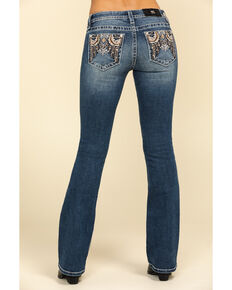 Miss Me Women's Aztec Feather Chloe Bootcut Jeans, Blue, hi-res