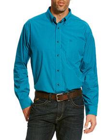Ariat Men's Blue Balencia Small Plaid Long Sleeve Western Shirt , Blue, hi-res