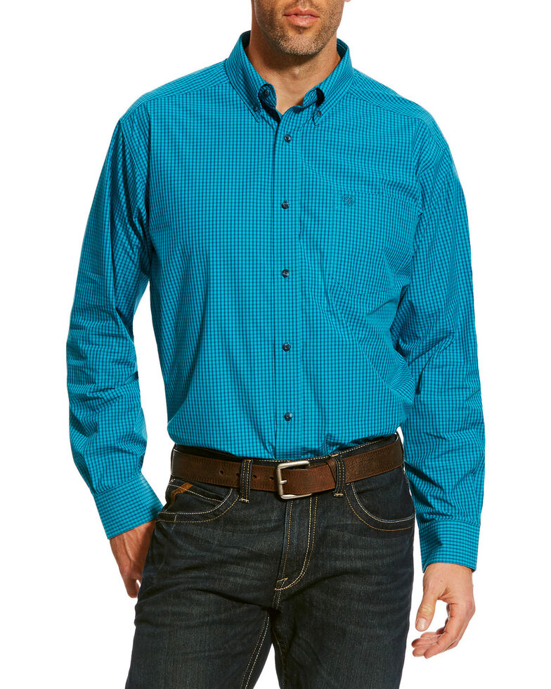 Ariat Men's Blue Balencia Small Plaid Long Sleeve Western Shirt , Blue, hi-res