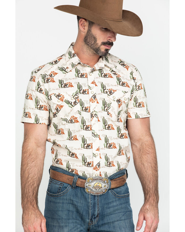 Dale Brisby Men's Cactus Geo Print Short Sleeve Western Shirt , White, hi-res