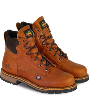 "Thorogood Men's 6"" American Heritage Work Boots - Soft Toe, Brown, hi-res"