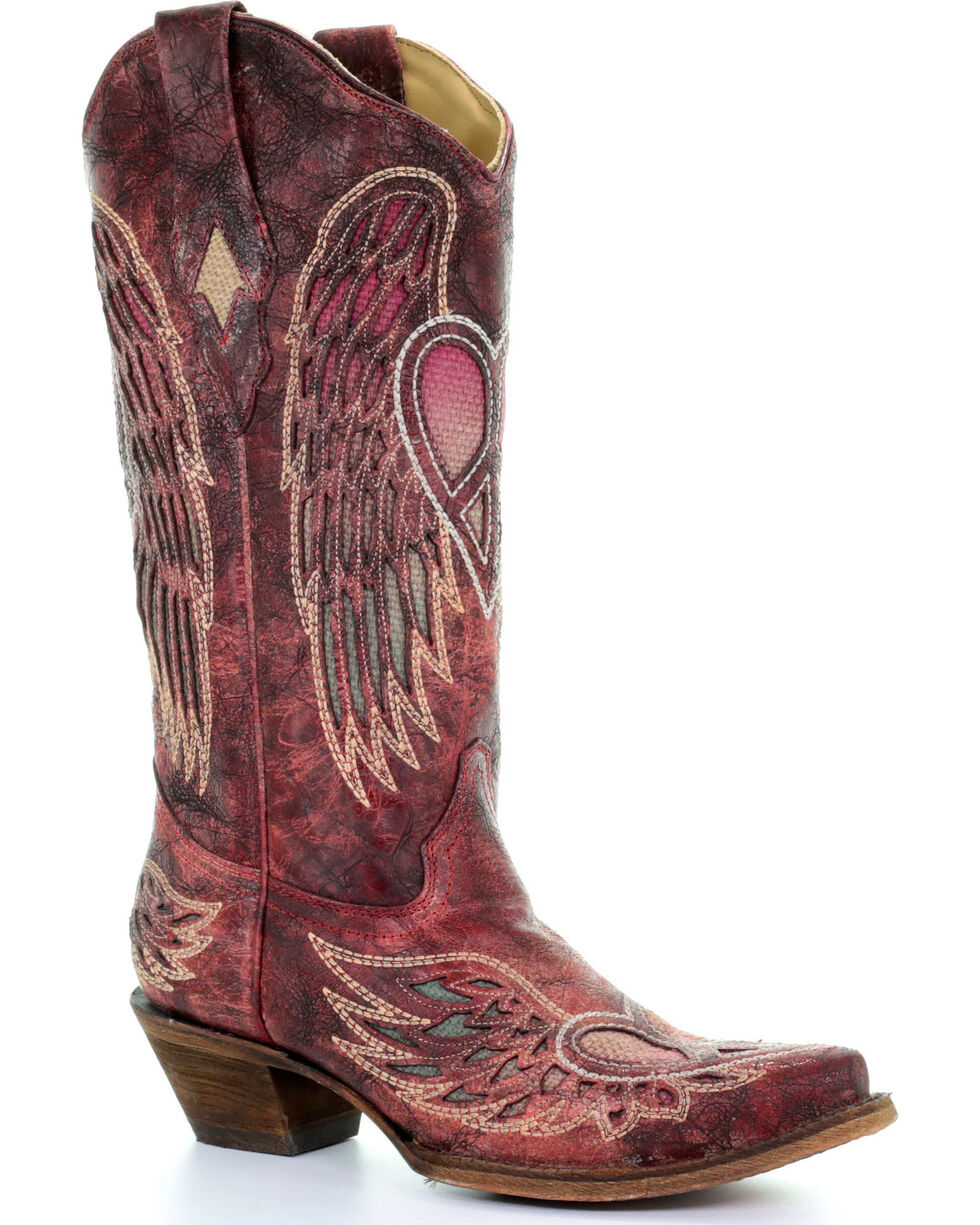 Corral Women's Red Wings and Heart Inlay Boots - Snip Toe , Taupe, hi-res