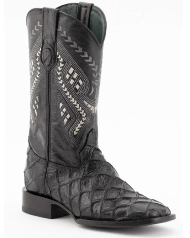 Ferrini Men's Bronco Pirarucu Print Western Boots - Wide Square Toe, Black, hi-res