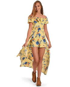 CES FEMME Women's Yellow Floral Overlay Romper , Yellow, hi-res