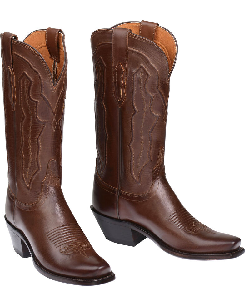 Lucchese Women's Grace Embossed Square Toe Western Boots, Tan, hi-res