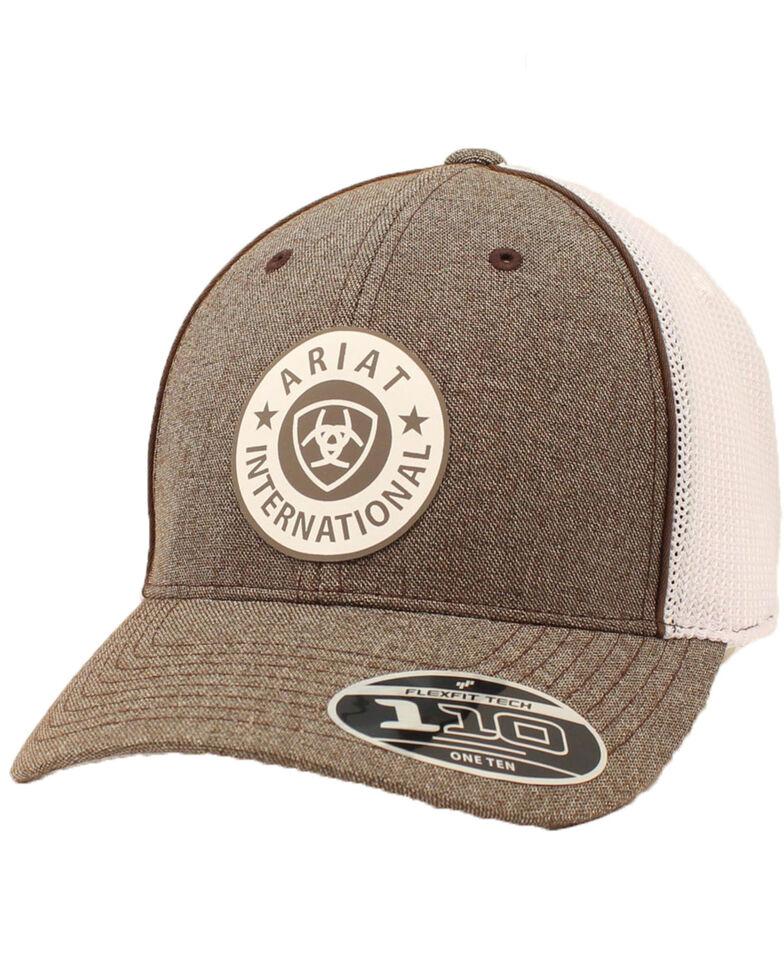 Ariat Men's Brown Circle Patch Tweed Mesh Ball Cap , Brown, hi-res