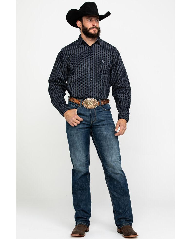 Panhandle Select Men's Peached Stripe Print Long Sleeve Western Shirt , Black, hi-res