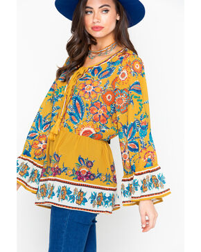 Flying Tomato Women's Floral Print Long Sleeve Shirt - Plus, Dark Yellow, hi-res