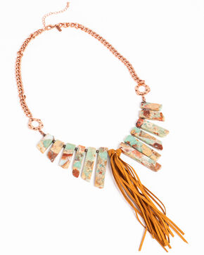 Shyanne Women's Natural Stone Bib Necklace, Rust Copper, hi-res