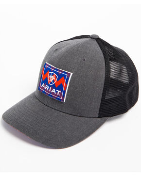 Ariat Men's Chevron Patch Trucker Cap, Grey, hi-res