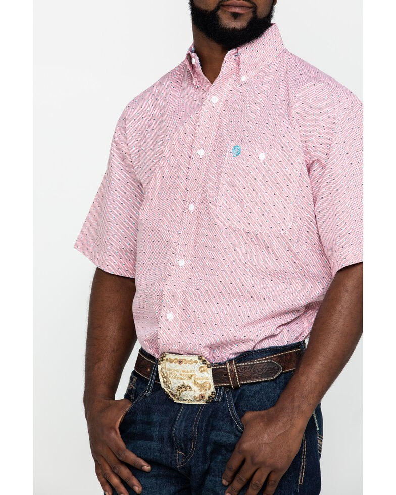 George Strait By Wrangler Men's Red Small Circle Geo Print Short Sleeve Western Shirt , Red, hi-res