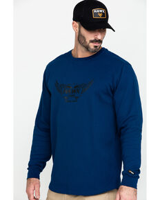 Hawx® Men's Blue Wings Graphic Thermal Long Sleeve Work T-Shirt - Tall , Blue, hi-res