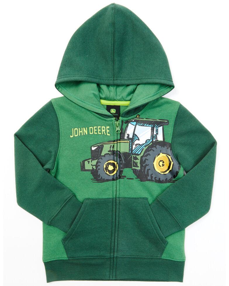 John Deere Toddler Boys' Green Fleece Zip Hooded Sweatshirt, Green, hi-res