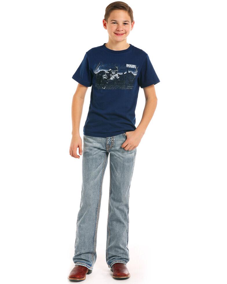 Rock & Roll Cowboy Boys' Triple Abstract Light Boot Jeans , Indigo, hi-res
