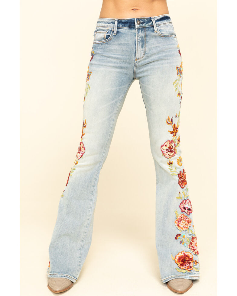 Driftwood Women's Medium Wash Embroidered Spicy Mango Farrah Flare Jeans , Blue, hi-res