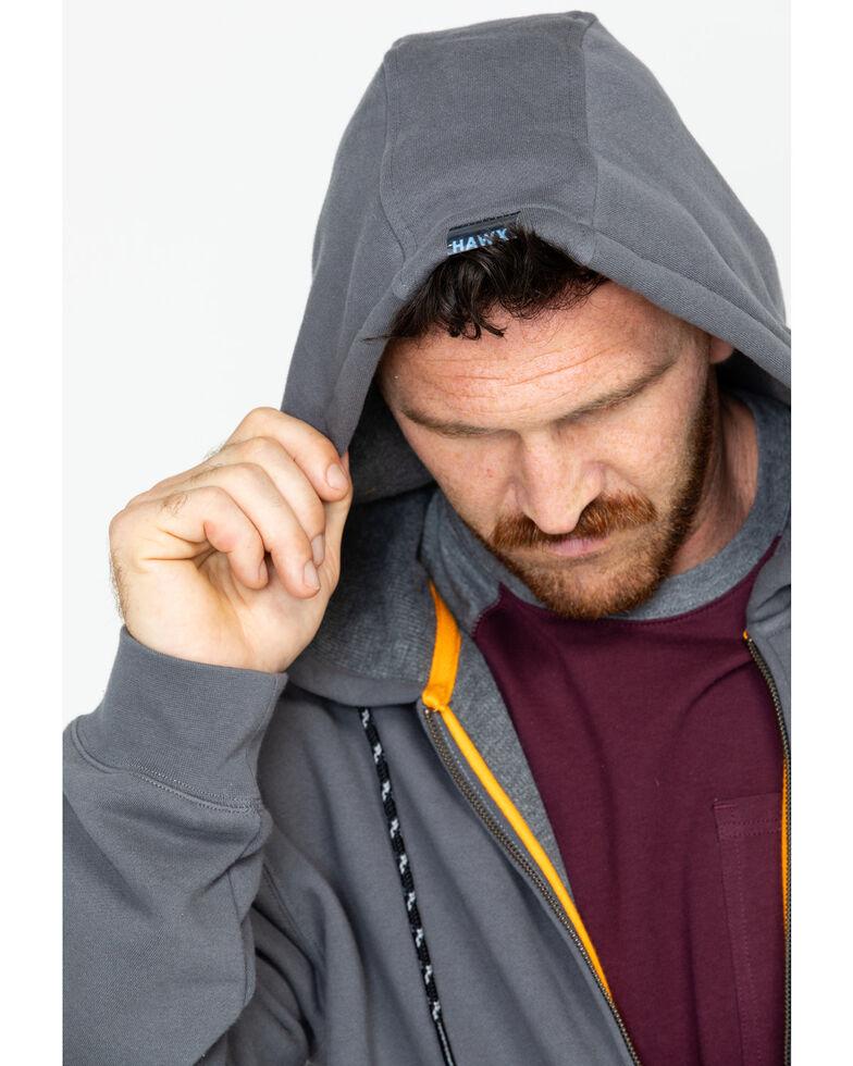 Hawx Men's Charcoal Zip-Front Hooded Work Jacket , Charcoal, hi-res