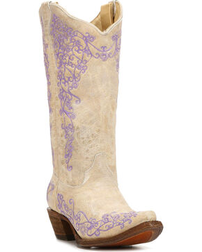 Corral Women's White Cowhide Cowgirl Boots - Snip Toe, White, hi-res
