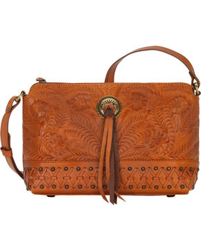 American West Women's Dove Canyon Crossbody Bag , Tan, hi-res